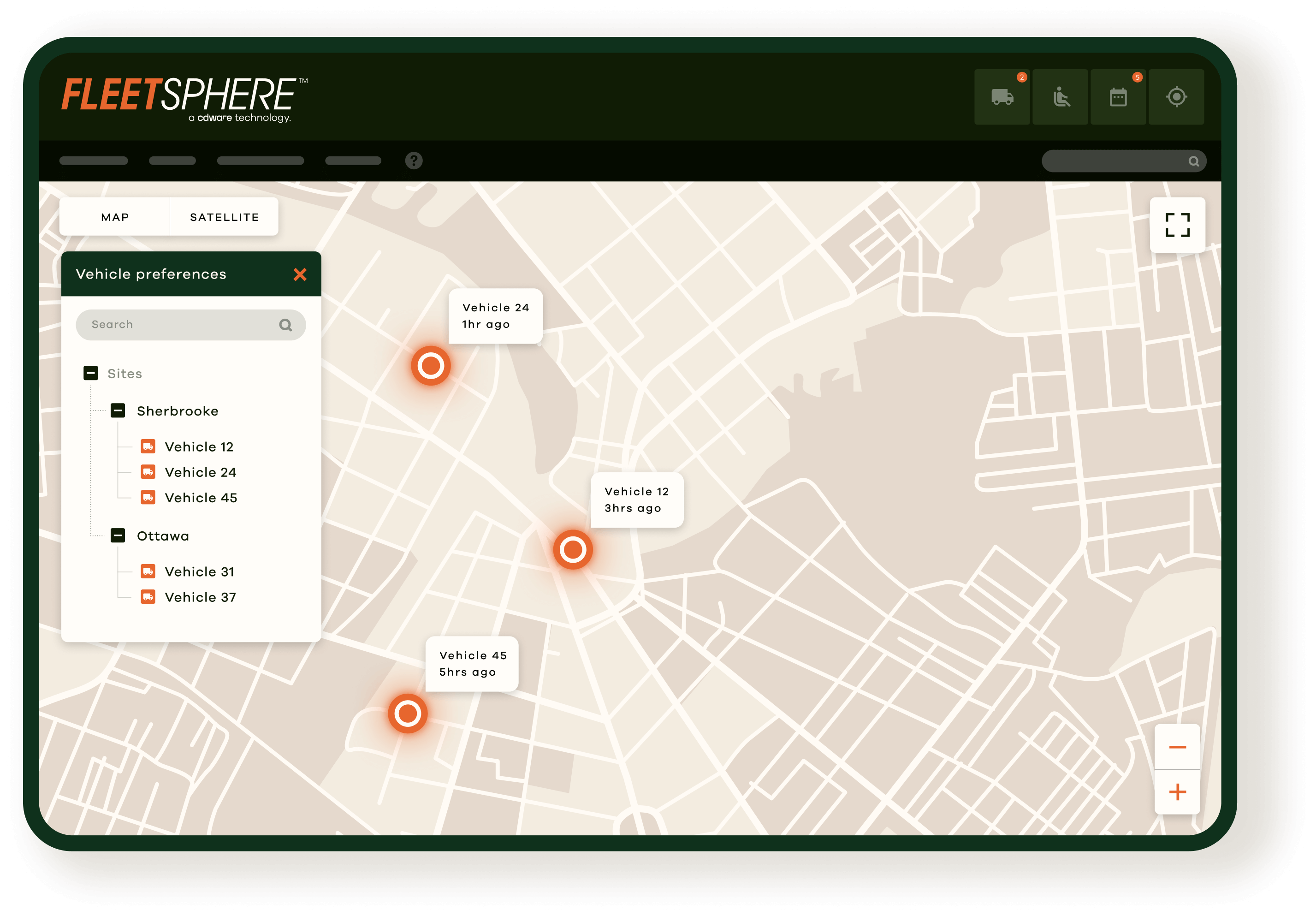 real time dashboard of the Fleetsphere software