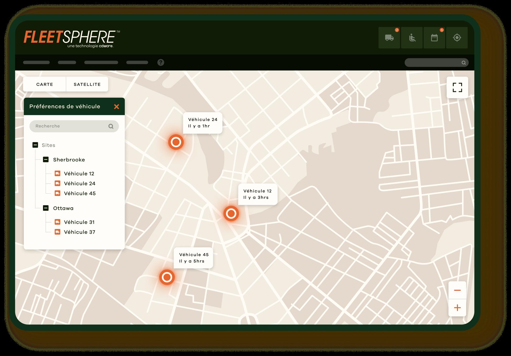 tableau d'application de la solution Fleetsphere par CDWare